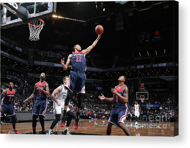 Nba Pro Basketball Acrylic Print featuring the photograph Washington Wizards V Brooklyn Nets by Nathaniel S. Butler