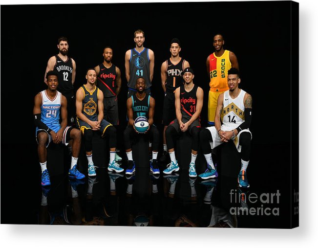 Kemba Walker Acrylic Print featuring the photograph 2019 Nba All Star Portraits by Jesse D. Garrabrant
