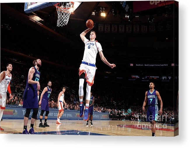 Nba Pro Basketball Acrylic Print featuring the photograph Charlotte Hornets V New York Knicks by Nathaniel S. Butler