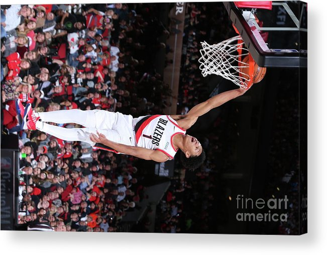 Nba Pro Basketball Acrylic Print featuring the photograph Denver Nuggets V Portland Trail Blazers by Sam Forencich