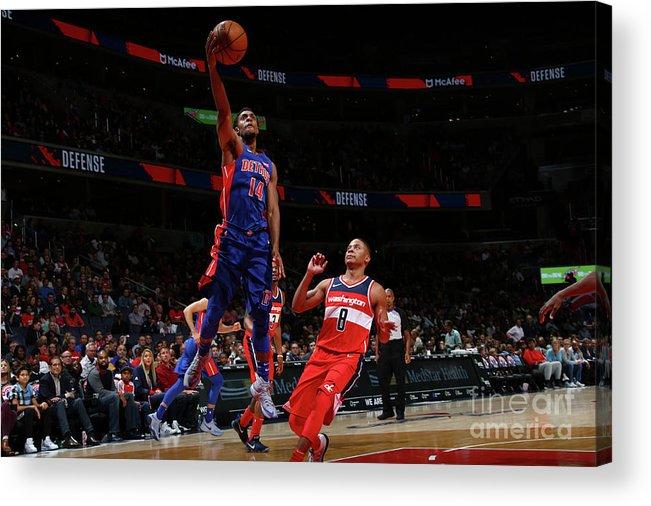 Nba Pro Basketball Acrylic Print featuring the photograph Detroit Pistons V Washington Wizards by Ned Dishman