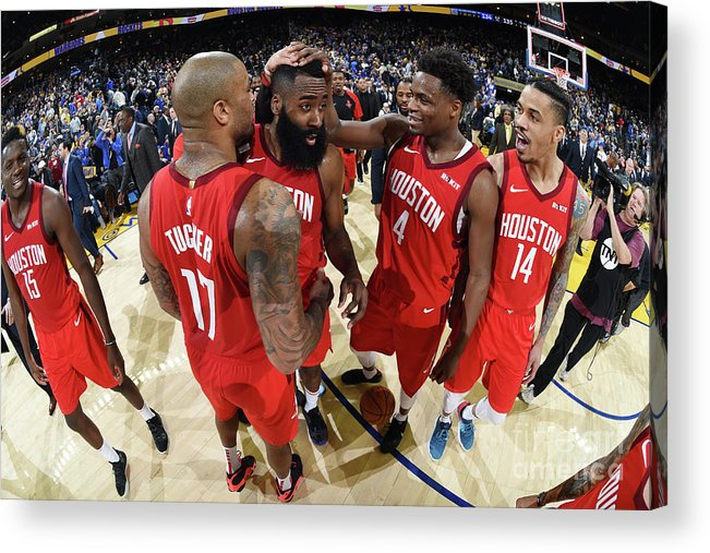 Nba Pro Basketball Acrylic Print featuring the photograph Houston Rockets V Golden State Warriors by Andrew D. Bernstein