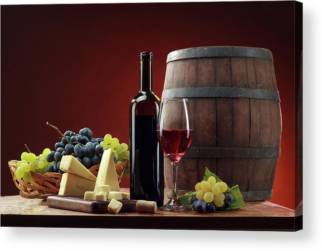 Cheese Acrylic Print featuring the photograph Red Wine Composition by Valentinrussanov
