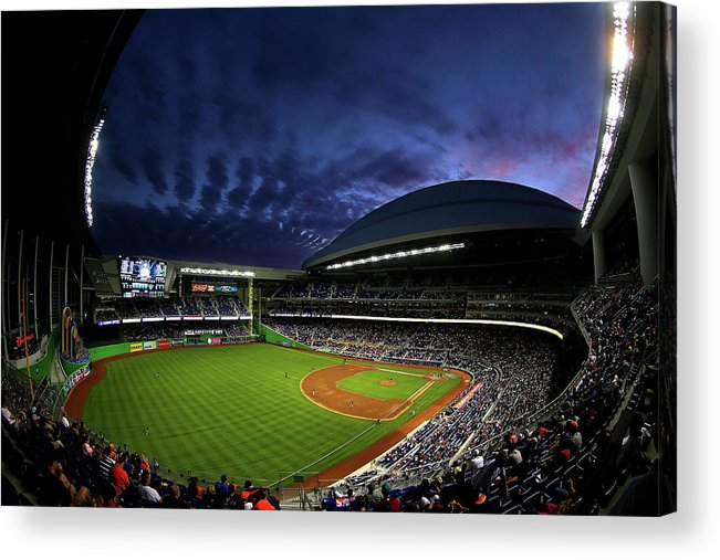 American League Baseball Acrylic Print featuring the photograph Colorado Rockies V Miami Marlins by Mike Ehrmann