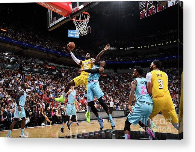 Nba Pro Basketball Acrylic Print featuring the photograph Lebron James by Brian Babineau