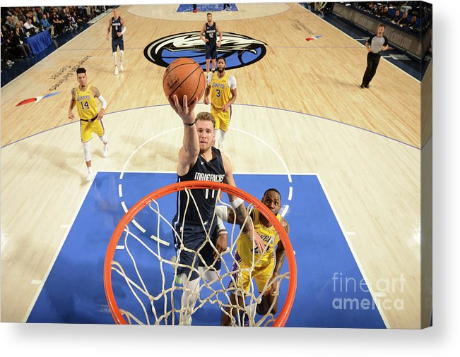 Nba Pro Basketball Acrylic Print featuring the photograph Los Angeles Lakers V Dallas Mavericks by Glenn James
