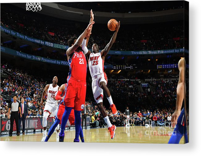 Nba Pro Basketball Acrylic Print featuring the photograph Miami Heat V Philadelphia 76ers by Jesse D. Garrabrant