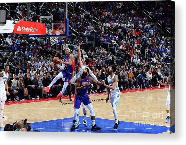 Nba Pro Basketball Acrylic Print featuring the photograph Charlotte Hornets V Detroit Pistons by Chris Schwegler