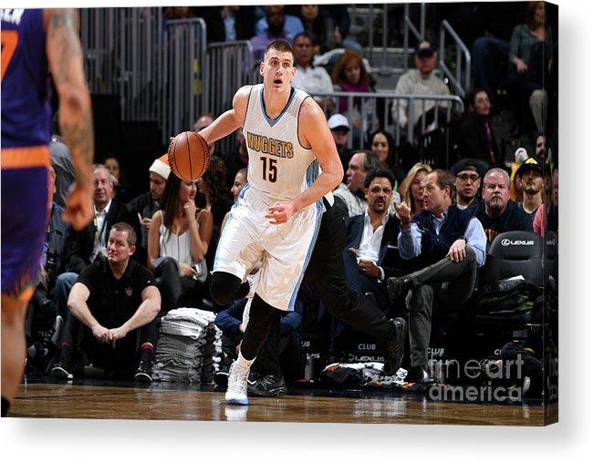 Nba Pro Basketball Acrylic Print featuring the photograph Phoenix Suns V Denver Nuggets by Garrett Ellwood