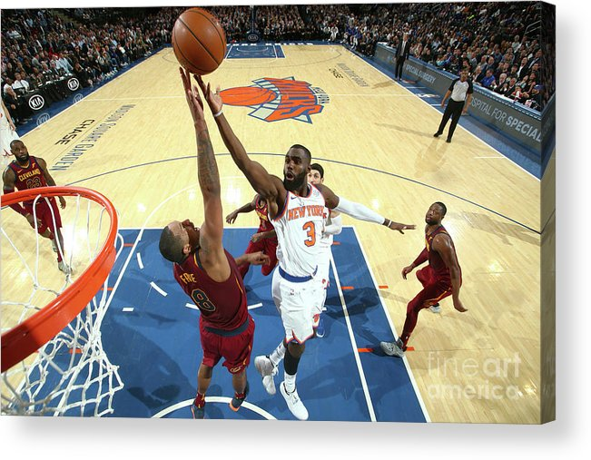 Tim Hardaway Jr. Acrylic Print featuring the photograph Cleveland Cavaliers V New York Knicks by Nathaniel S. Butler
