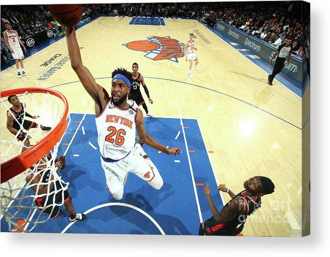 Nba Pro Basketball Acrylic Print featuring the photograph Toronto Raptors V New York Knicks by Nathaniel S. Butler