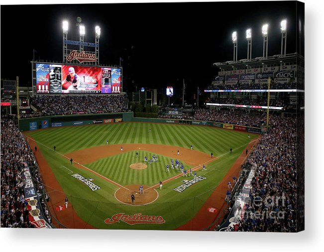 American League Baseball Acrylic Print featuring the photograph World Series - Chicago Cubs V Cleveland by Ezra Shaw