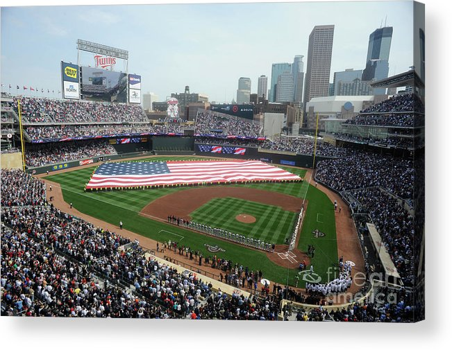 American League Baseball Acrylic Print featuring the photograph Boston Red Sox V Minnesota Twins by Hannah Foslien