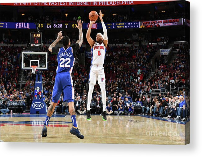 Nba Pro Basketball Acrylic Print featuring the photograph Detroit Pistons V Philadelphia 76ers by Jesse D. Garrabrant