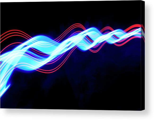Black Background Acrylic Print featuring the photograph Abstract Light Trails And Streams by John Rensten