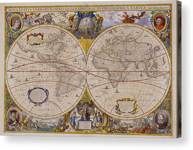 Latitude Acrylic Print featuring the digital art Antique Map Of The World by Comstock