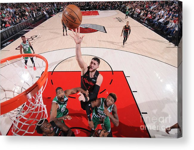 Jusuf Nurkić Acrylic Print featuring the photograph Boston Celtics V Portland Trail Blazers by Sam Forencich