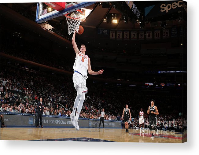 Nba Pro Basketball Acrylic Print featuring the photograph Brooklyn Nets V New York Knicks by Nathaniel S. Butler