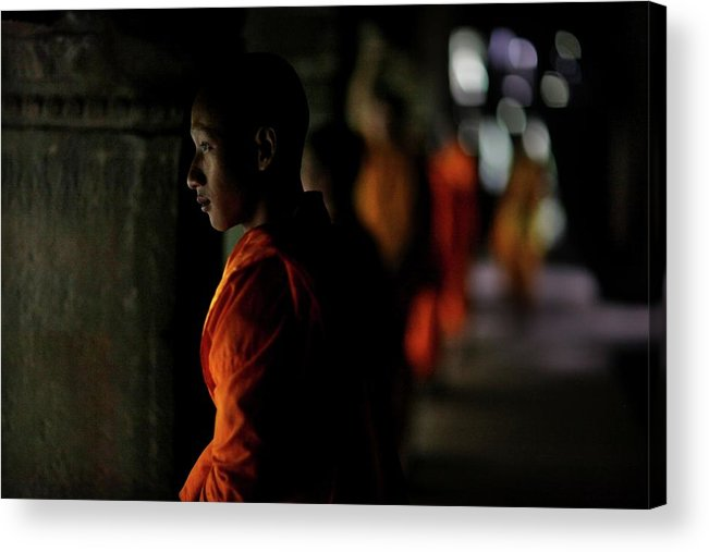 People Acrylic Print featuring the photograph Buddhist Monks At Angkor Wat Temple by Timothy Allen