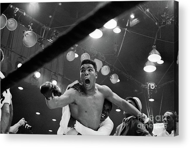 People Acrylic Print featuring the photograph Cassius Clay After Winning Championship by Bettmann