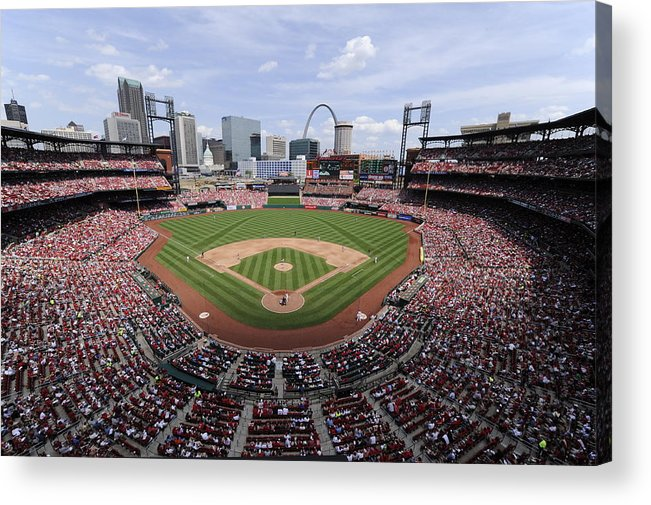 St. Louis Cardinals Acrylic Print featuring the photograph Cincinnati Reds V. St. Louis Cardinals by Ron Vesely