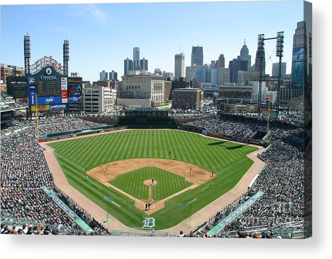 American League Baseball Acrylic Print featuring the photograph Cleveland Indians V Detroit Tigers by John Grieshop