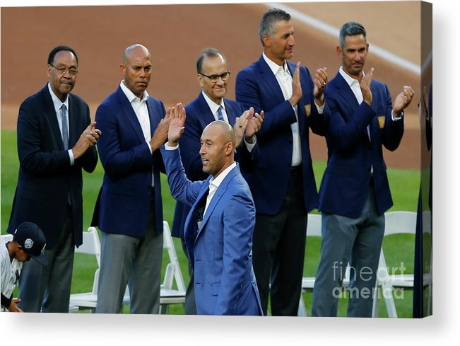 Crowd Acrylic Print featuring the photograph Derek Jeter Ceremony by Rich Schultz