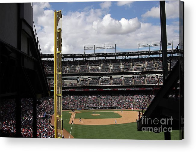 American League Baseball Acrylic Print featuring the photograph Detroit Tigers V Texas Rangers by Ronald Martinez