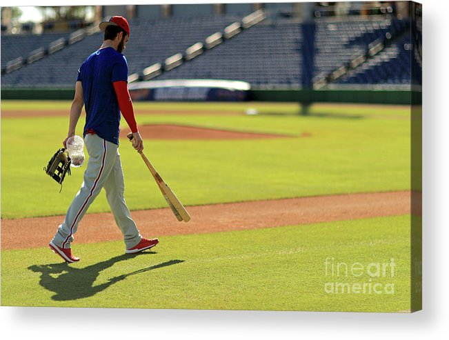 Working Acrylic Print featuring the photograph Philadelphia Phillies Bryce Harper by Mike Ehrmann