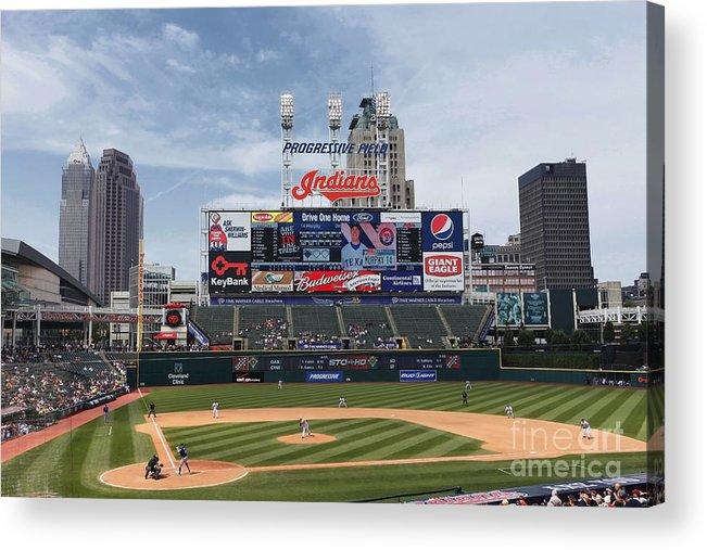 American League Baseball Acrylic Print featuring the photograph Texas Rangers V Cleveland Indians by Joe Robbins