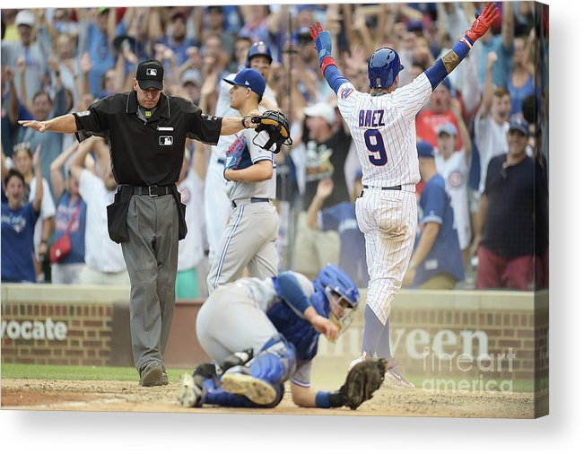 People Acrylic Print featuring the photograph Toronto Blue Jays V Chicago Cubs by Stacy Revere