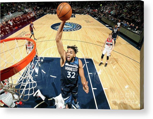 Nba Pro Basketball Acrylic Print featuring the photograph Washington Wizards V Minnesota by David Sherman
