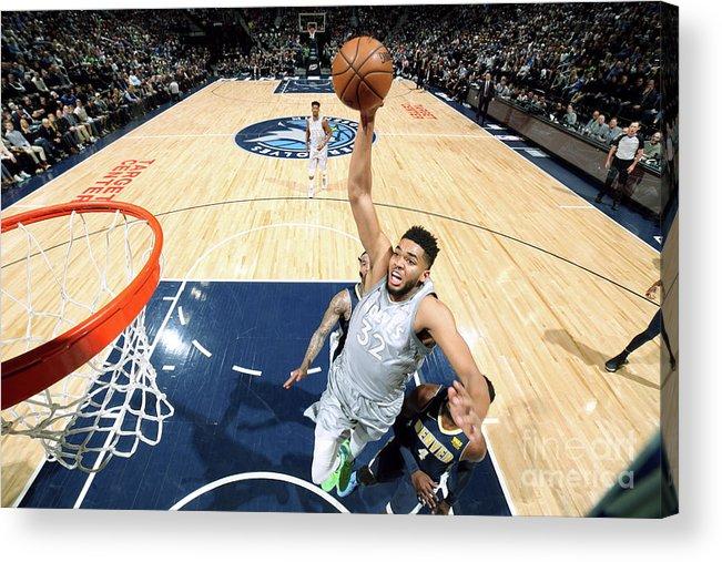 Nba Pro Basketball Acrylic Print featuring the photograph Denver Nuggets V Minnesota Timberwolves by David Sherman