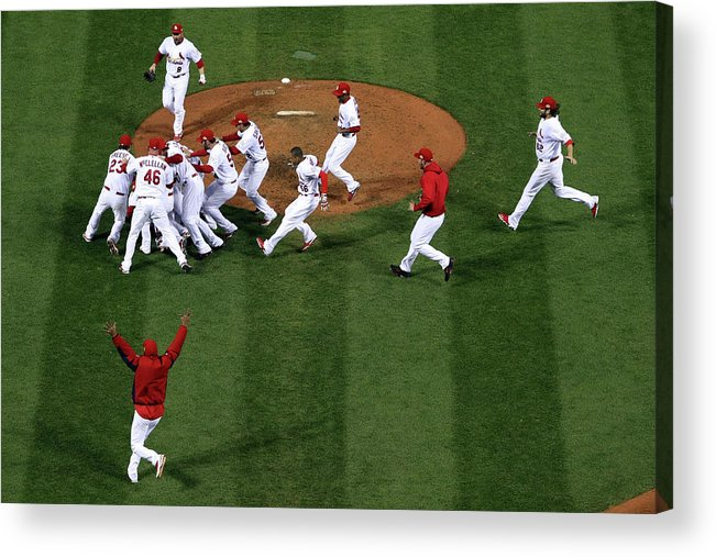 St. Louis Cardinals Acrylic Print featuring the photograph 2011 World Series Game 7 - Texas by Doug Pensinger