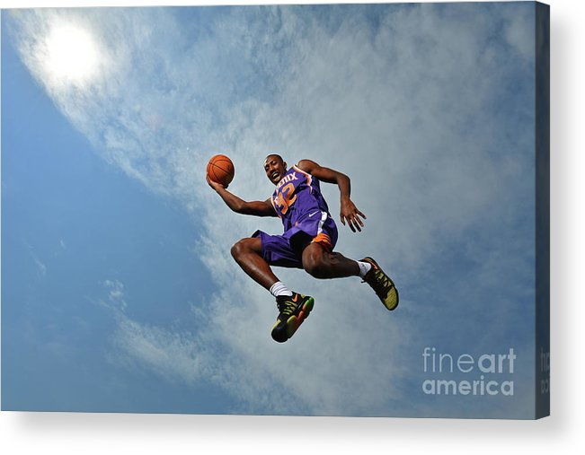 Nba Pro Basketball Acrylic Print featuring the photograph 2017 Nba Rookie Photo Shoot by Jesse D. Garrabrant
