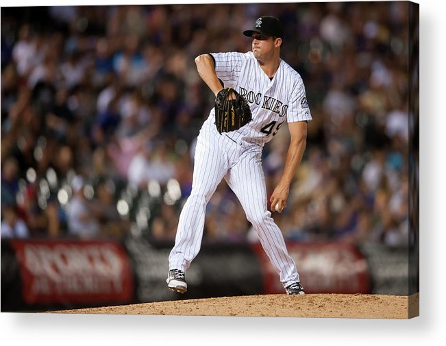 Baseball Pitcher Acrylic Print featuring the photograph Arizona Diamondbacks V Colorado Rockies by Dustin Bradford