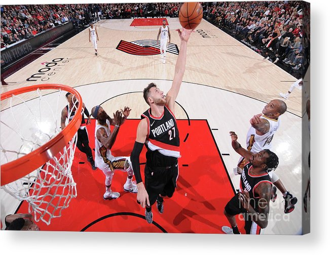 Jusuf Nurkić Acrylic Print featuring the photograph New Orleans Pelicans V Portland Trail by Sam Forencich