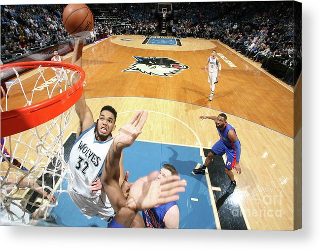 Nba Pro Basketball Acrylic Print featuring the photograph Detroit Pistons V Minnesota Timberwolves by David Sherman