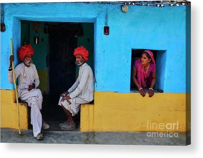 Walking Cane Acrylic Print featuring the photograph India, Rajasthan, Rabari Village by Tuul & Bruno Morandi
