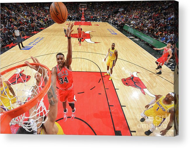 Nba Pro Basketball Acrylic Print featuring the photograph Los Angeles Lakers V Chicago Bulls by Jesse D. Garrabrant