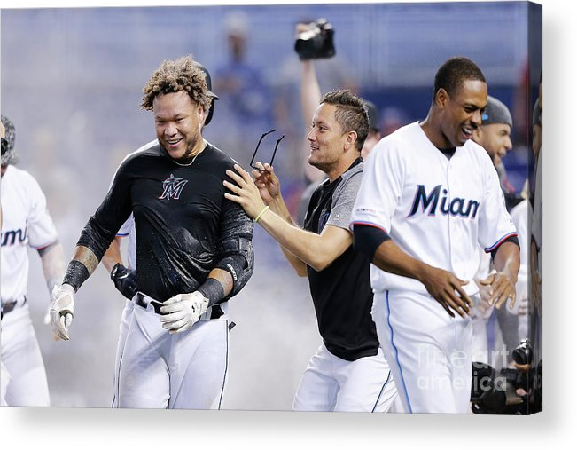 American League Baseball Acrylic Print featuring the photograph Minnesota Twins V Miami Marlins by Michael Reaves