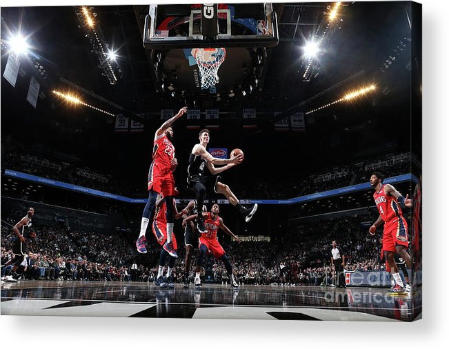 Nba Pro Basketball Acrylic Print featuring the photograph New Orleans Pelicans V Brooklyn Nets by Nathaniel S. Butler