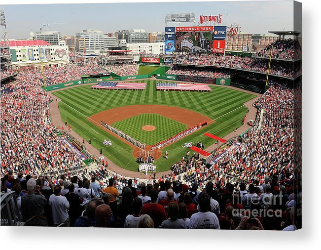 In A Row Acrylic Print featuring the photograph Philadelphia Phillies V Washington by Greg Fiume