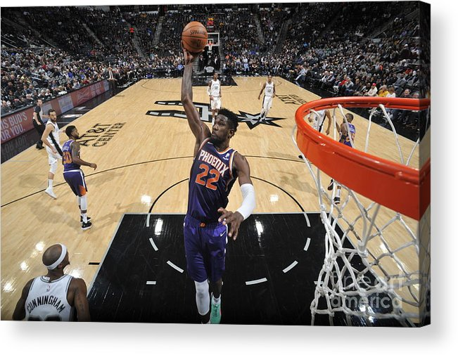 Nba Pro Basketball Acrylic Print featuring the photograph Phoenix Suns V San Antonio Spurs by Mark Sobhani