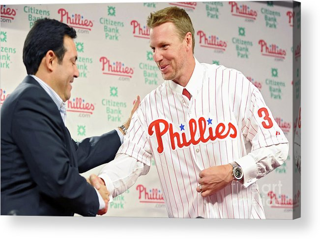 People Acrylic Print featuring the photograph Roy Halladay Press Conference by Drew Hallowell
