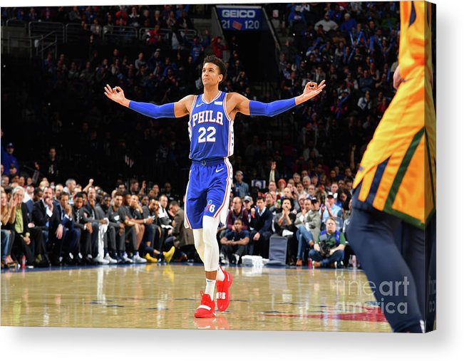 Nba Pro Basketball Acrylic Print featuring the photograph Utah Jazz V Philadelphia 76ers by Jesse D. Garrabrant