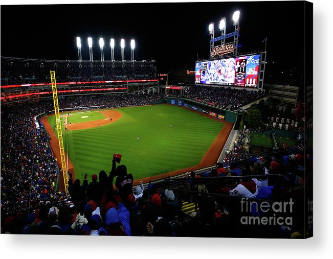 Game Two Acrylic Print featuring the photograph World Series - Chicago Cubs V Cleveland by Jamie Squire