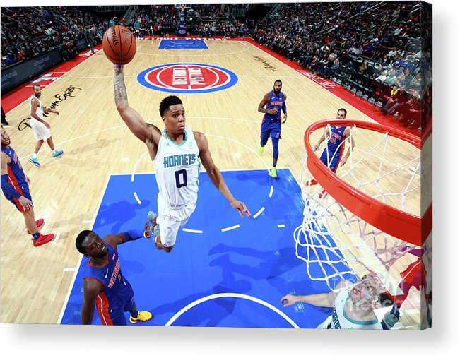 Nba Pro Basketball Acrylic Print featuring the photograph Charlotte Hornets V Detroit Pistons by Brian Sevald