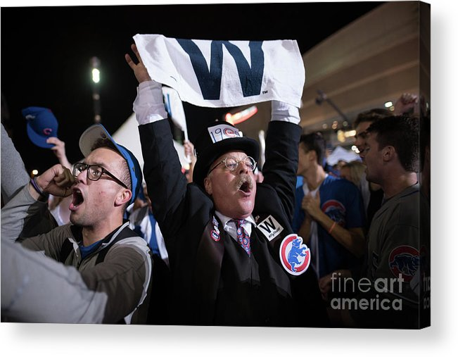 Celebration Acrylic Print featuring the photograph Cleveland Indians Fans Gather To The by Justin Merriman