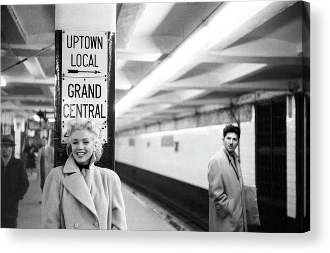1950-1959 Acrylic Print featuring the photograph Marilyn In Grand Central Station by Michael Ochs Archives